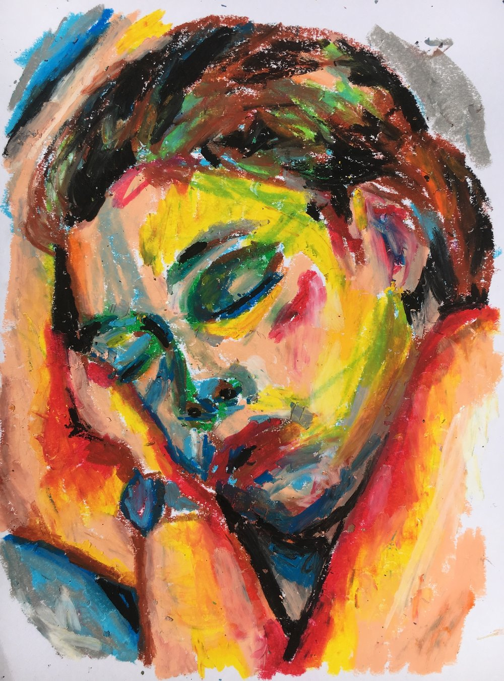 Sleeping Briana, 2016 | Oil pastel on paper, 8x11""