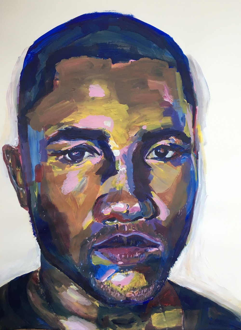 Frank Ocean, 2017 | Acrylic paint on paper, 18x24""