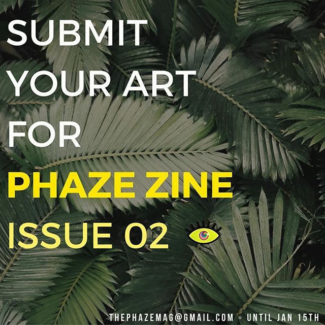 "Submissions for PHAZE ZINE: Issue 02 are now open! This year our theme is ""origins"" 🍃. Submit paintings, drawings, graphic design, photography, poetry, stories, music and any other art that you believe relates to our theme! DM us with any questions! Here's how to submit: 💭 📩 ———————— * Submit by: January 15th * Submit to: thephazemag@gmail.com with ""zine submission"" in the subject . . . . . . . . . . . #phaze #zine #submit #art #issue #print #magazine #artcall #photography #design #painting #drawing #music #poetry #writing #submissions #creative #origin #january #2019 #interview #digital #photoshoot #nyc #dmv #international #visualart #places #history #culture"
