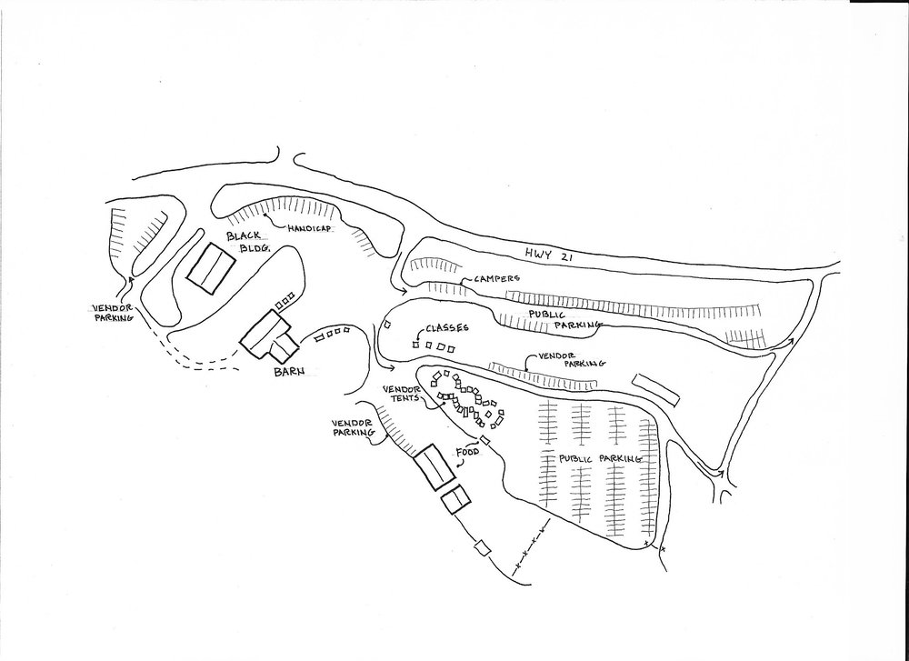 "This is an overview of the entire facility.  Vendors are located in three areas, the Black Building, the Barn building and the ""spheres of influence"".  Individual area descriptions follow.  The Barn building is not detailed inside, but you will be able to see once you get there how easy it is to find everything."