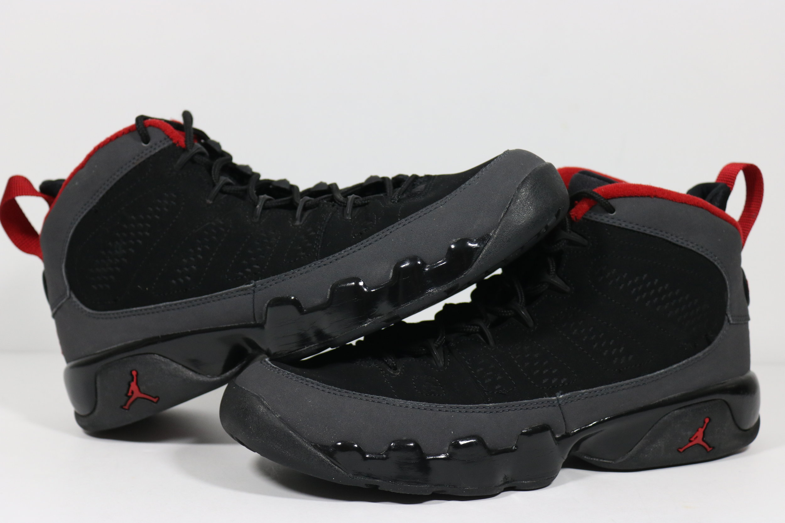 8fcacd36055e nike air jordan 9 retro gs black varsity red dark charcoal size 7y 302359  005 preowned