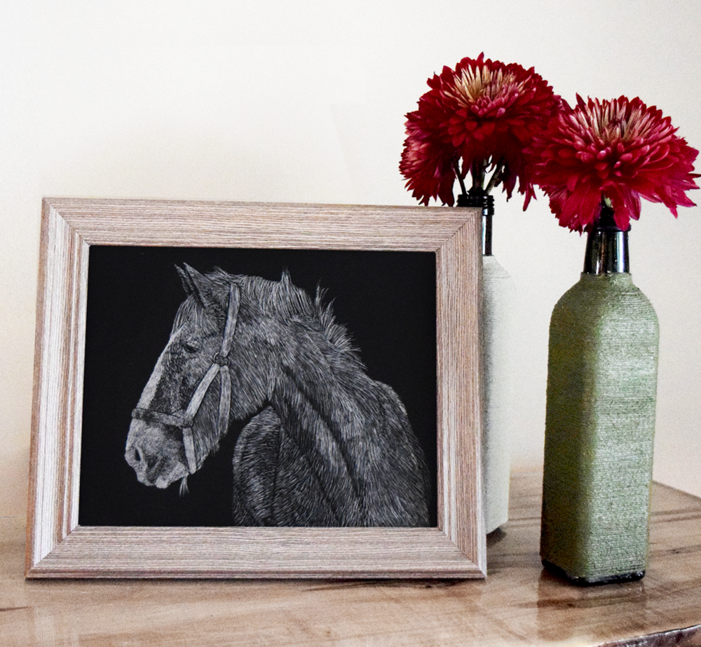 horse scratchboard picture with green vase and flowers