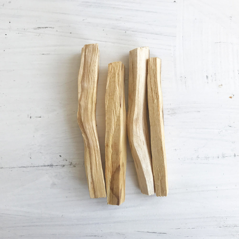 """Palo Santo  is a sacred tree used by the Incas to purify and cleanse the spirit from negative energies. Palo Santo, """"Holy Wood"""", grows on the coast of South America. The incense is used to energize and cleanse rooms and objects. It aids meditation and peaceful thoughts."""