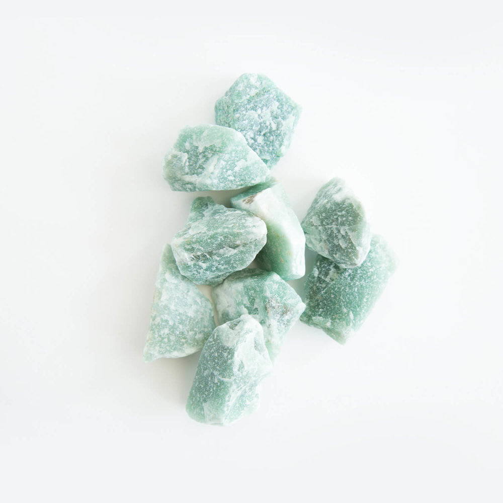 Connected with Raphael,  green aventurine  is a good all-round healer stone. It aids the eyes and heart and calms anxiety. A prosperity stone, it promotes luck and feelings of well-being. Liked by nature spirits, it also protects from pollution.