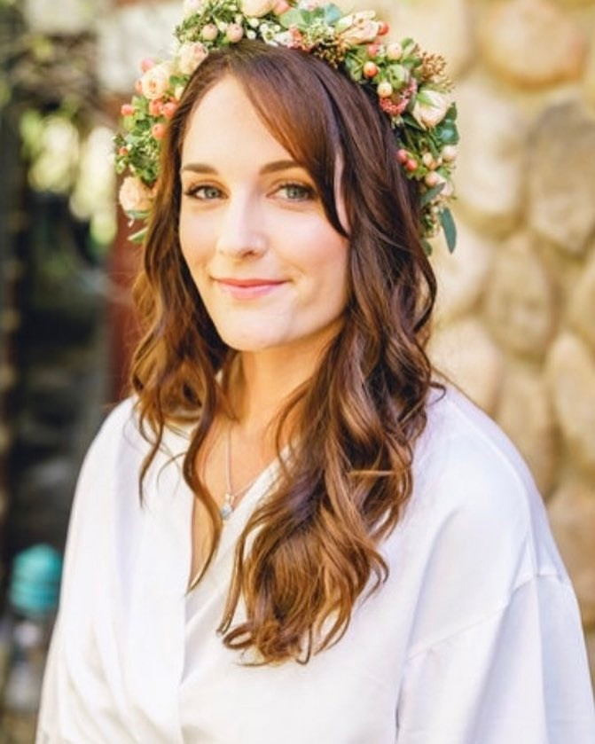 Brunette Bridal Hair Long Loose Curls Flower Crown.jpg