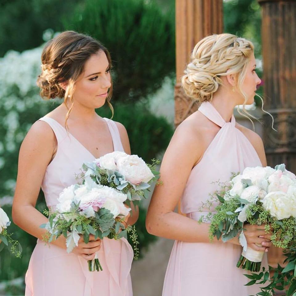 Blonde and Brunette Bridesmaids Side Braid Low Bun.jpg