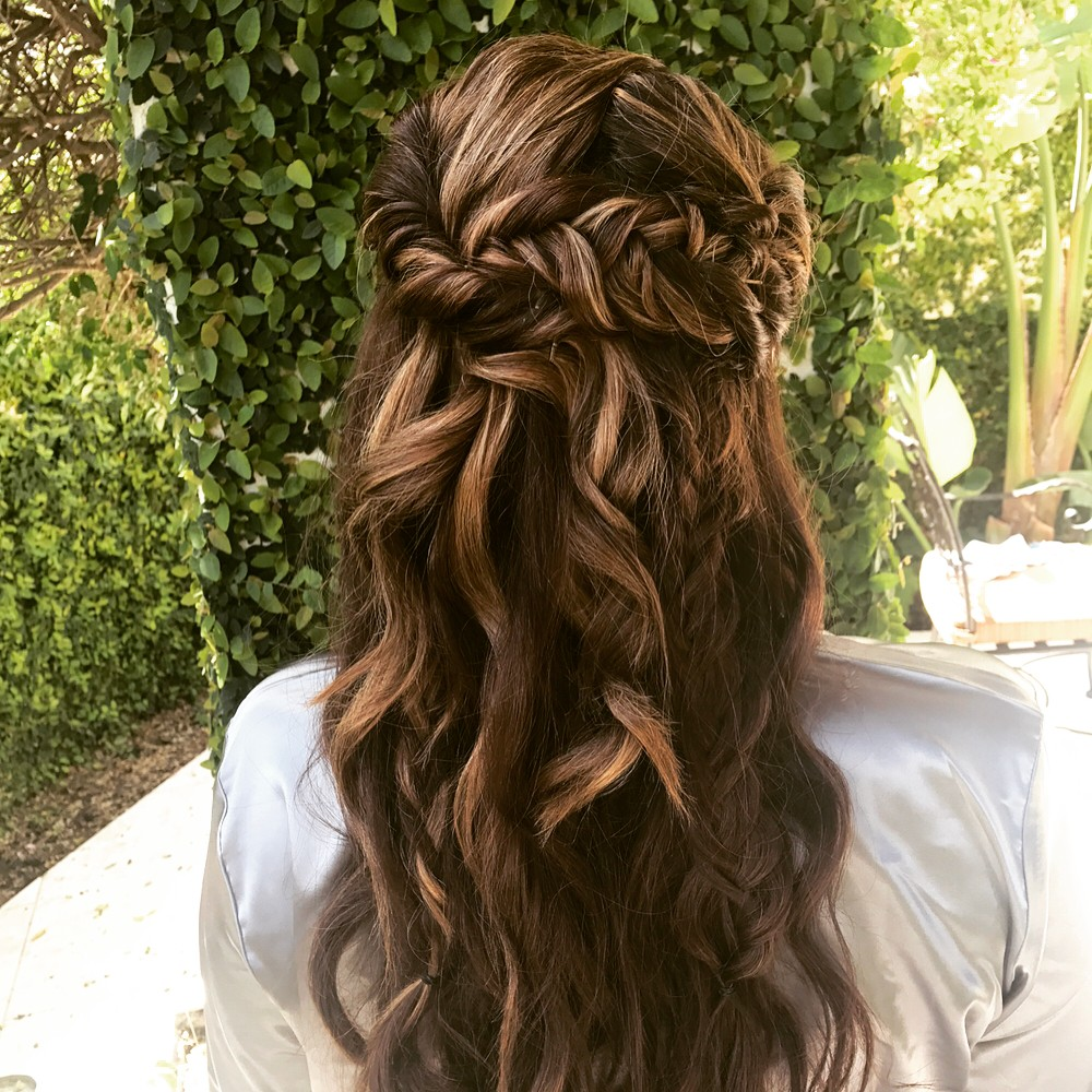 Brunette Mermaid Curls Bridesmaid Hairstyle Back.jpg