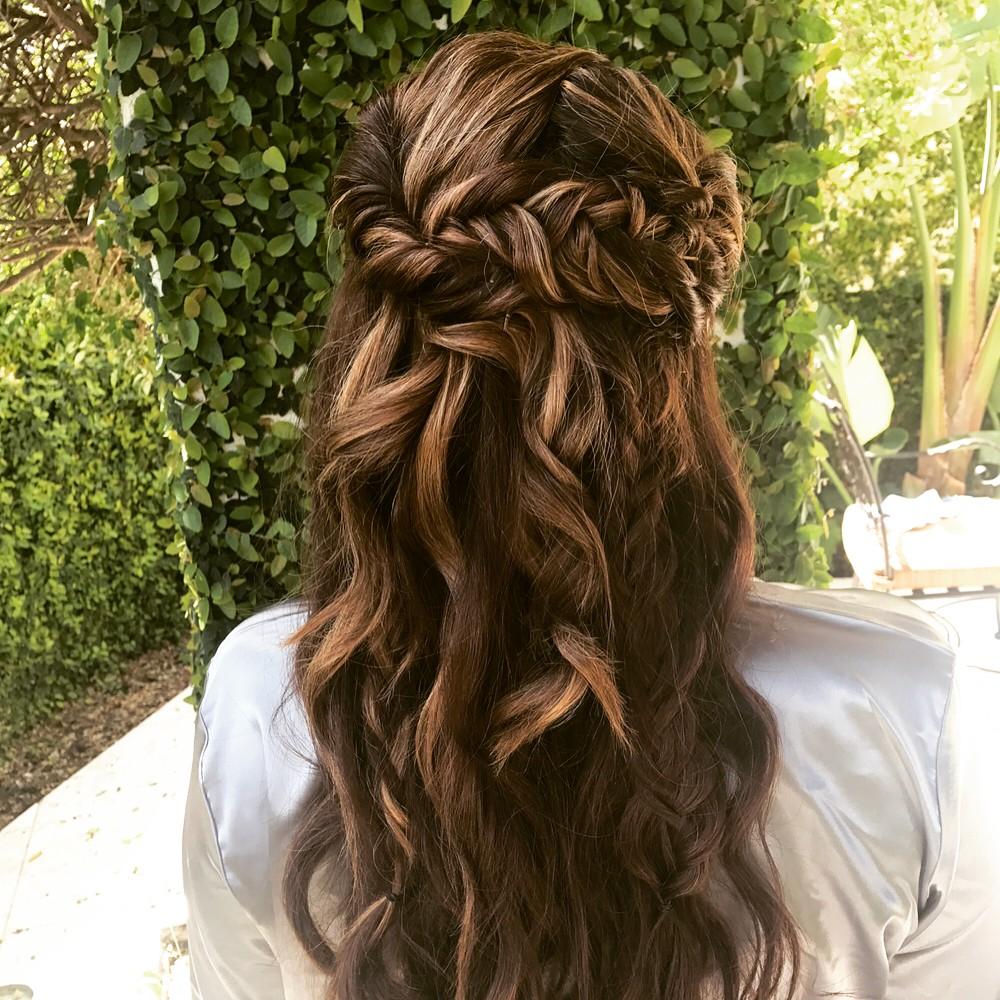 Brunette Mermaid Curls Bridesmaid Hairstyle Back.jpg