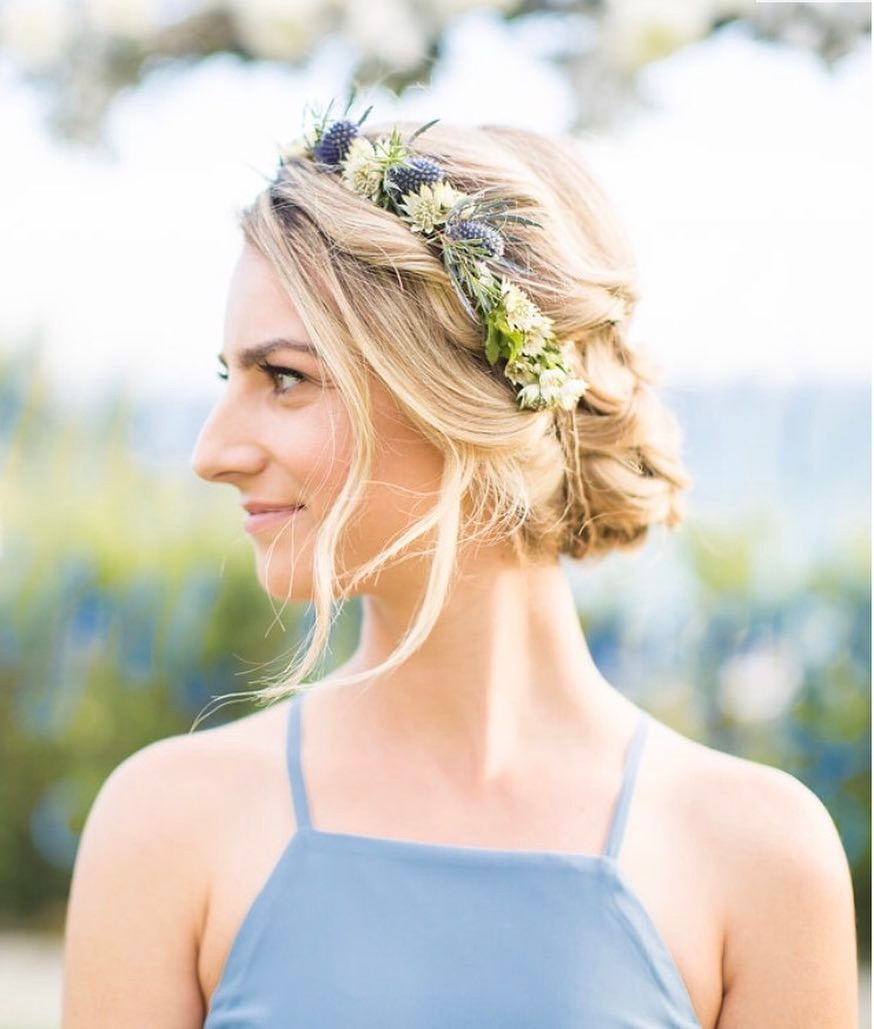 Blonde Bohemian Bride Updo Curls Flower Crown.jpg