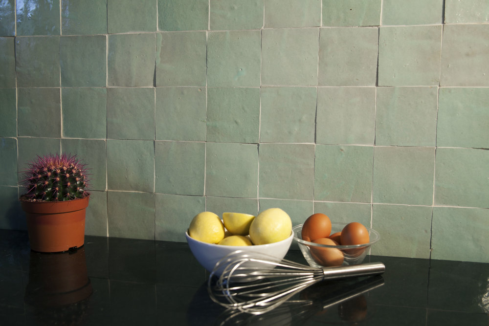 Tilesofezra Moroccan Zellige mosaics_WHite w green tones splashback kitchen design Australia Georgia Ezra GABBE interior design colour Green Square mosaic tiles .jpg