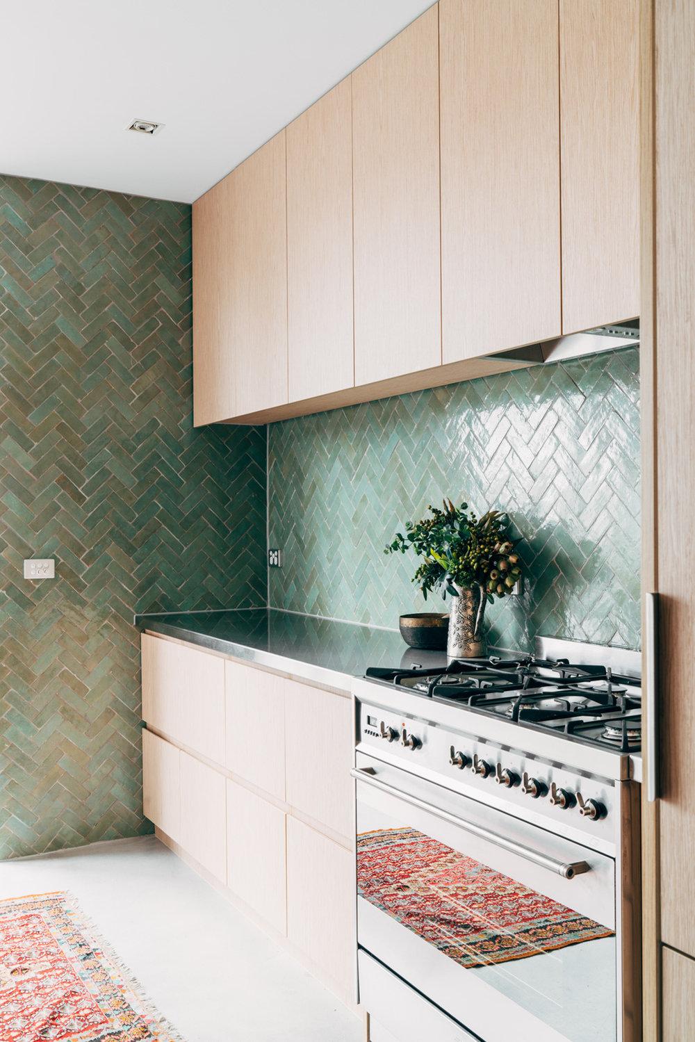 Richmond Residence Interior Design -  Studio Ezra  Tiles - Tiles of Ezra FL006 Aqua  (shop now)