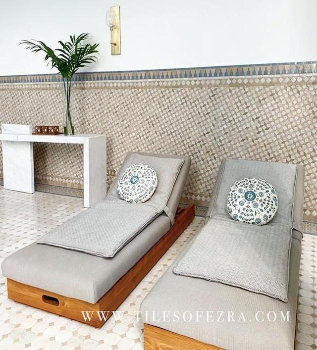Pure opulence in the far away land of Saudi Arabia. How grand do our tiles look along these pool beds? #tilesofezra . . . #zellige #zelij #moroccantiles #melbourne  #interiordesire #interiorinspo #handmadetiles #interior4all #interior123 #interiores #myhome #interiorstyling #interiordecor #livingroom #instahome #decor #homedecor #designer #decoration #furniture #homedesign #house #instadesign #architecturelovers #architect 
