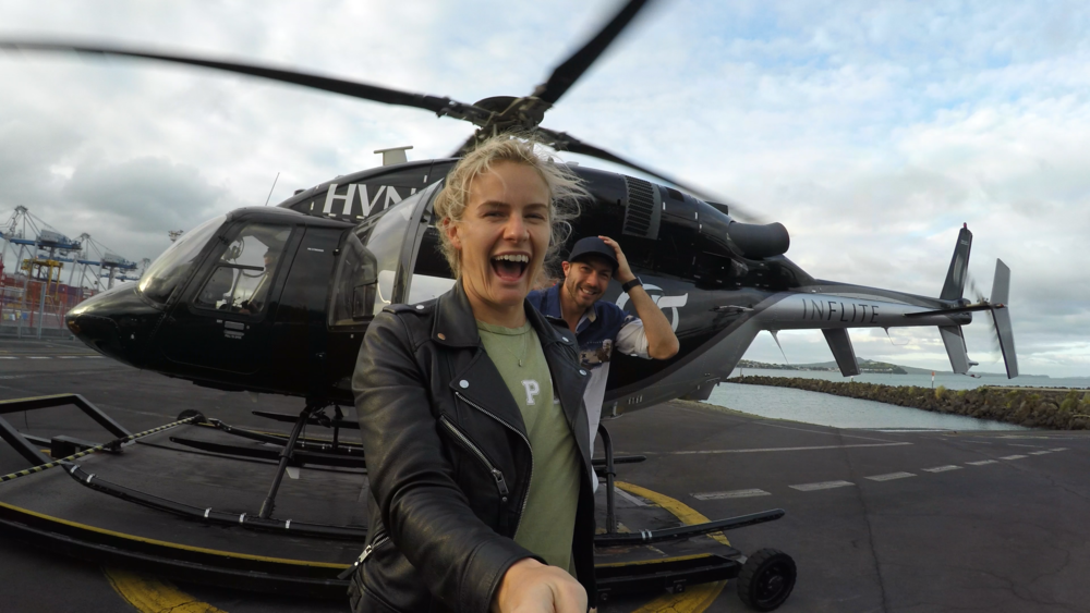 Art Green & Matilda Rice on a flight over Auckland with Rome and Inflite Helicopters