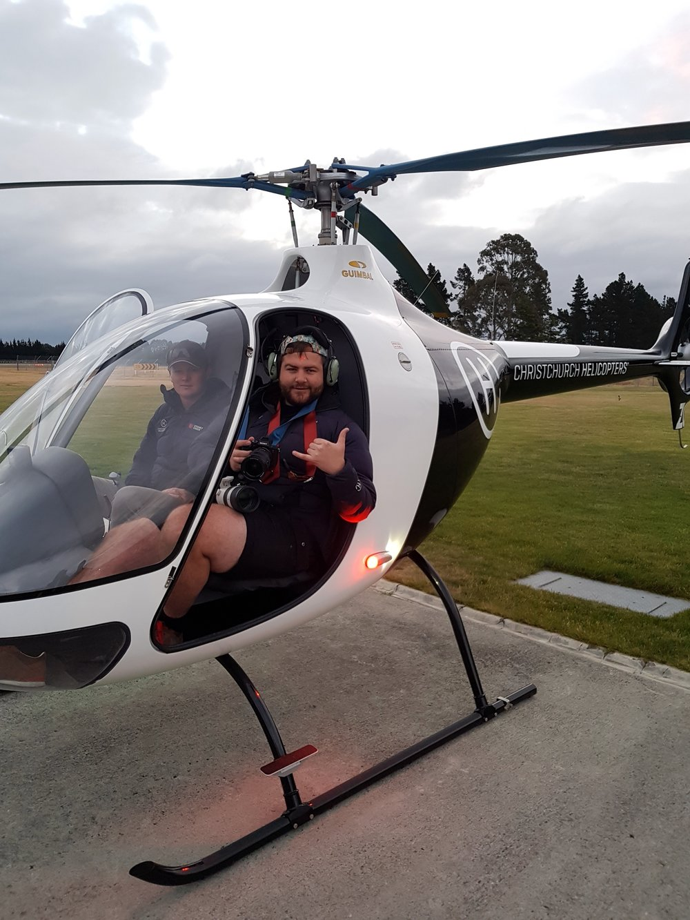 Talman got to trial a helicopter flight with Christchurch Helicopters