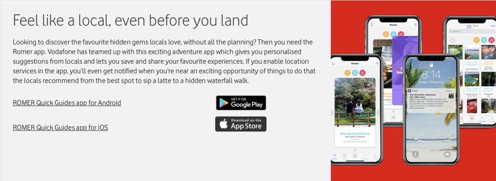 Vodafone Xone roaming in New Zealand Romer App