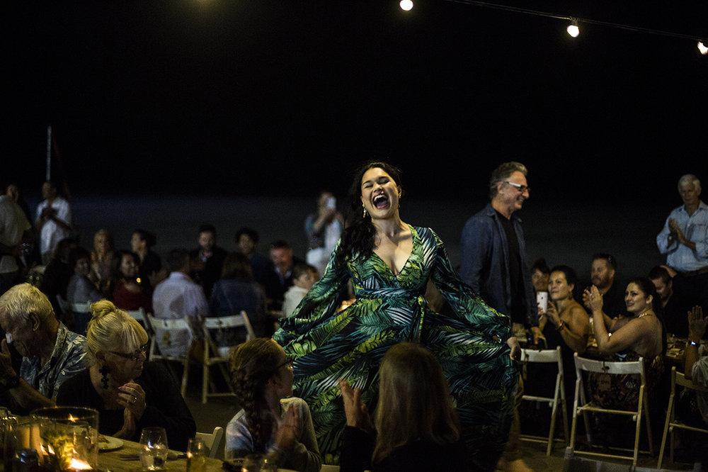 WA Opera's Fleuranne Brockway sings among the diners at Broome's Shinju Matsuri Sunset Long Table Dinner. Photo: Taja Coles-Berenyi