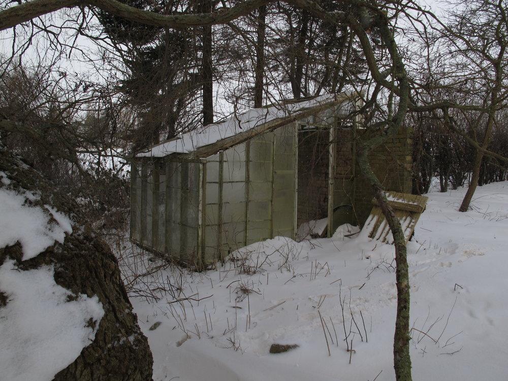 Det faldefærdige lille drivhus truer med at falde helt sammen under sneen.