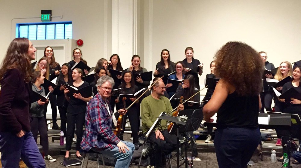 SFGC and Kronos in rehearsal for 2016 Kronos Festival, with Serbian composer Aleksandra Vrebalov