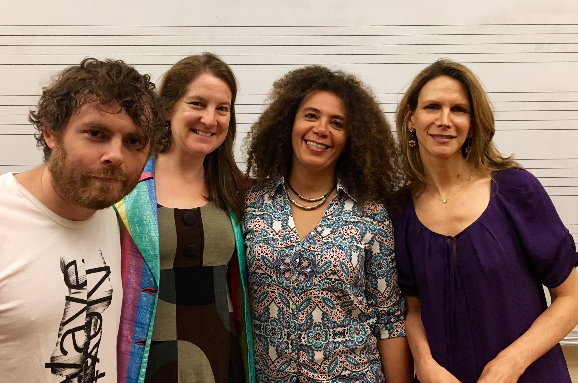 Composer Gabriel Kahane, SF Girls Chorus Artistic Director Lisa Bielawa, SFGC Music Director and Principal Conductor Valérie Sainte-Agathe, and Brooklyn Youth Chorus Artistic Director Dianne Berkun-Menaker