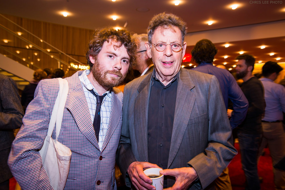 Composers Gabriel Kahane and Phillip Glass following the NY Phil Biennial Festival concert with SF Girls Chorus, The Knights, and Brooklyn Youth Chorus, June 9, 2016. Photo courtesy New York Philharmonic, Chris Lee Photographer.