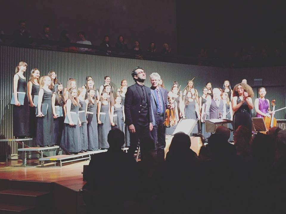 Standing ovation following the West Coast Premiere of composer Sahba Aminikia's work Sound, Only Sound Remains performed by the Kronos Quartet and the San Francisco Girls Chorus, conducted by SFGC's Valérie Sainte-Agathe.