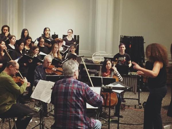 San Francisco Girls Chorus rehearse with the Kronos Quartet, conducted by Valèrie Sainte-Agathe