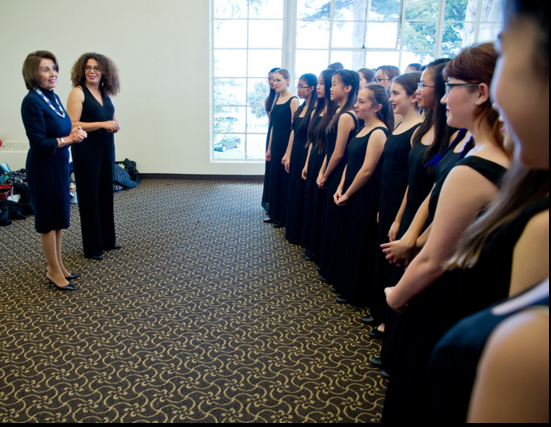 Congresswoman Nancy Pelosi greets SFGC conductor Valerie Sainte-Agathe and the San Francisco Girls Chorus prior to singing at the former Speaker's annual event. Photograph by Alain McLaughlin Photography Inc.