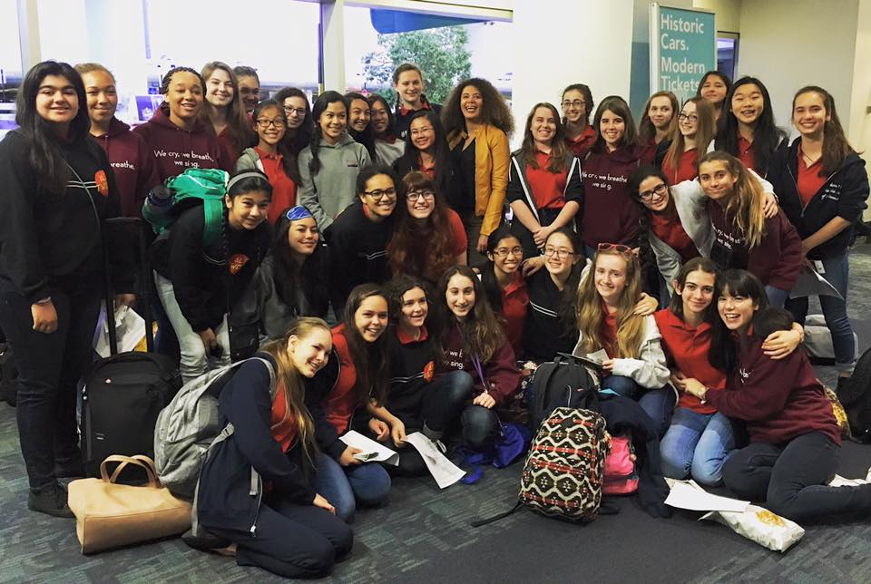 SF Girls Chorus and Music Director and Principal Conductor Valérie Sainte-Agathe at San Francisco International Airport before taking off to New York. Photograph by Elaine Robertson.