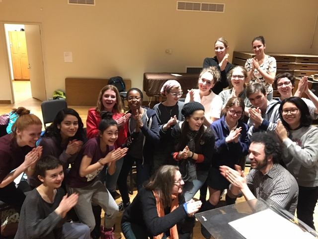 Team NYC! Knights conductor Eric Jacobsen, SFGC collaborator Paul Vasile, Trinity Youth Chorus members and their conductor Melissa Attebury with me at rehearsal last night