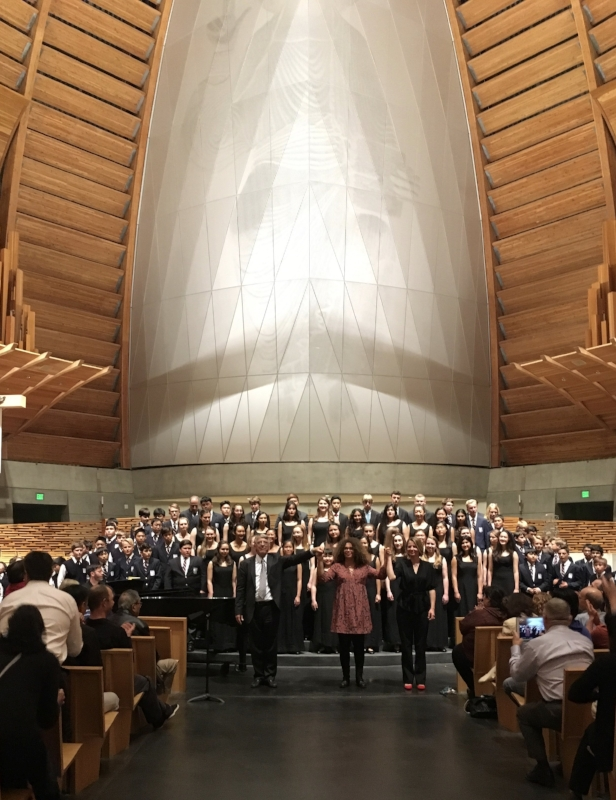 Ian, Valérie, and SFBC Intermediate Chorus Director Ildikó Salgado with SFBC and SFGC's Premier Ensemble after their performance at the Cathedral of Christ the Light in Oakland in May, 2017.