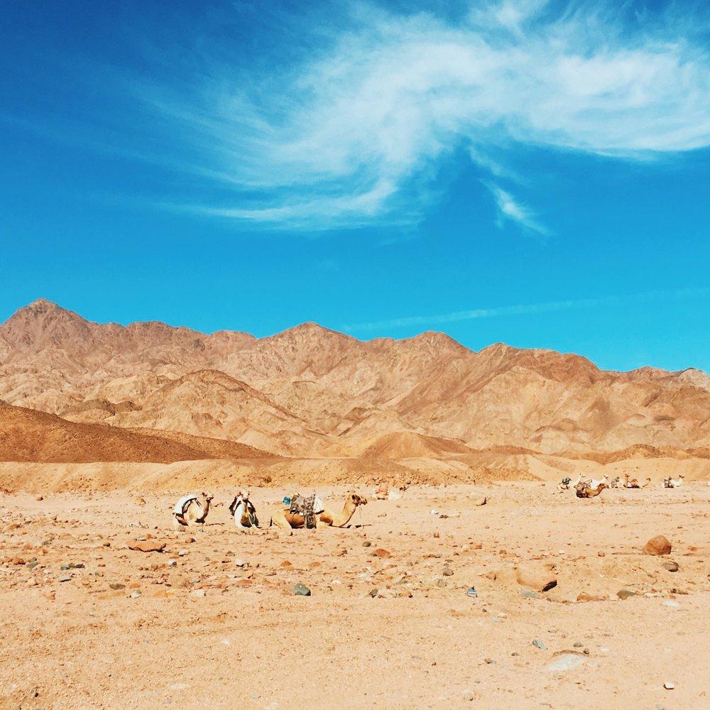 De um lado as montanhas do Sinai