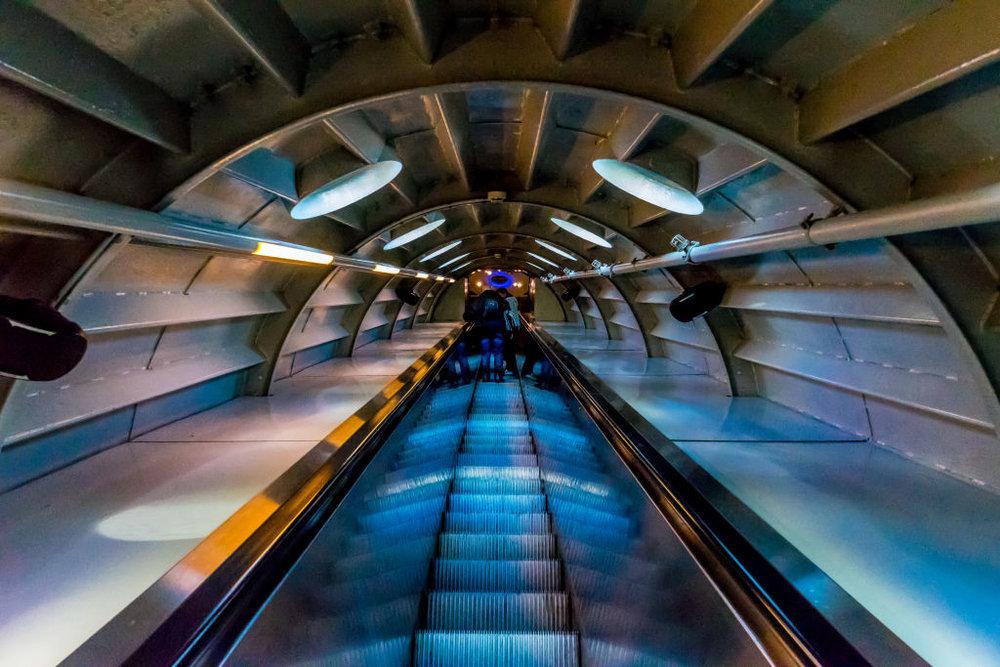 Brussels Atomium Red Escalator Up Belgium