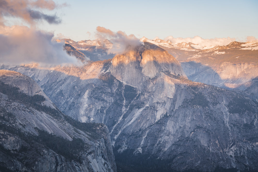 half dome from eagle peak during sunset yosemite national park california