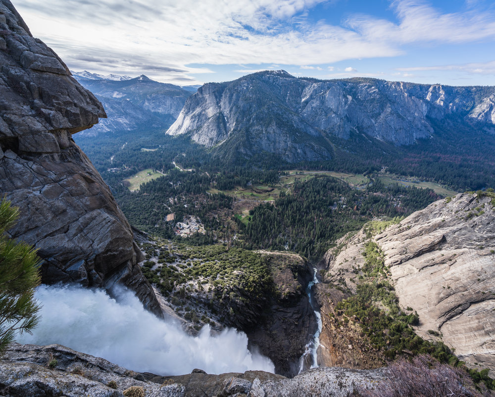 Overlooking upper yosemite falls from the overlook with the valley in view panorama yosemite national park california
