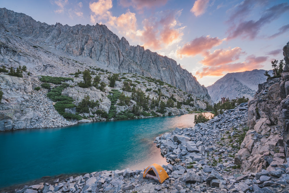 finger lake, sunset, teal, california, john muir, wilderness, backpacking, camping, backcountry, outdoors, color, reflection, jmt, pct, bishop, mammoth lakes, lone pine, south fork, big pine, hiking, hike, sierra nevada, eastern sierras, north fork creek, trail, palisade, crest, glacier