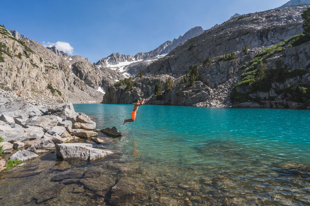 finger lake, sunset, teal, california, john muir, wilderness, backpacking, camping, backcountry, outdoors, color, reflection, jmt, pct, bishop, mammoth lakes, lone pine, south fork, big pine, hiking, hike, sierra nevada, eastern sierras, north fork creek, trail, palisade, crest, glacier swimming