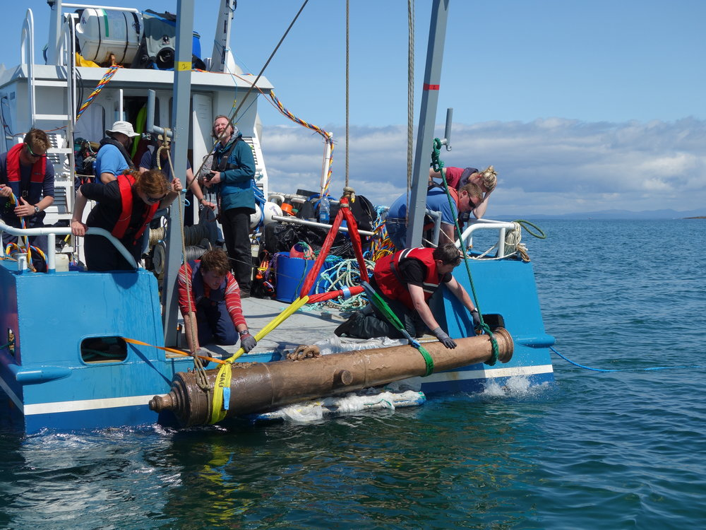 Spanish Armada cannon being recovered off the coast of Sligo in 2015