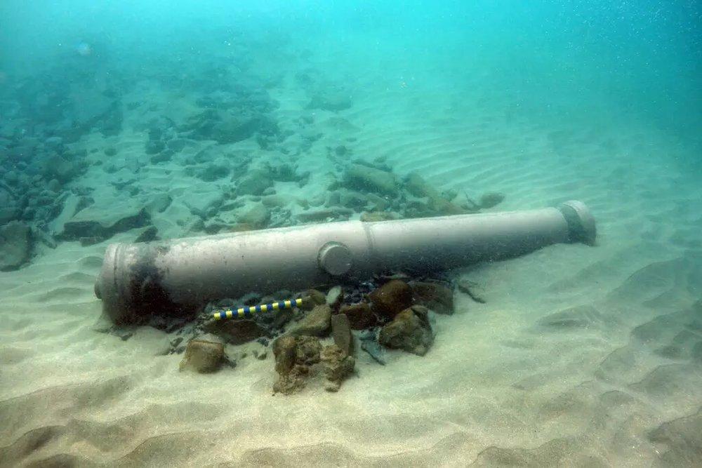 A Spanish Armada cannon under the water at Streedagh Beach in Sligo