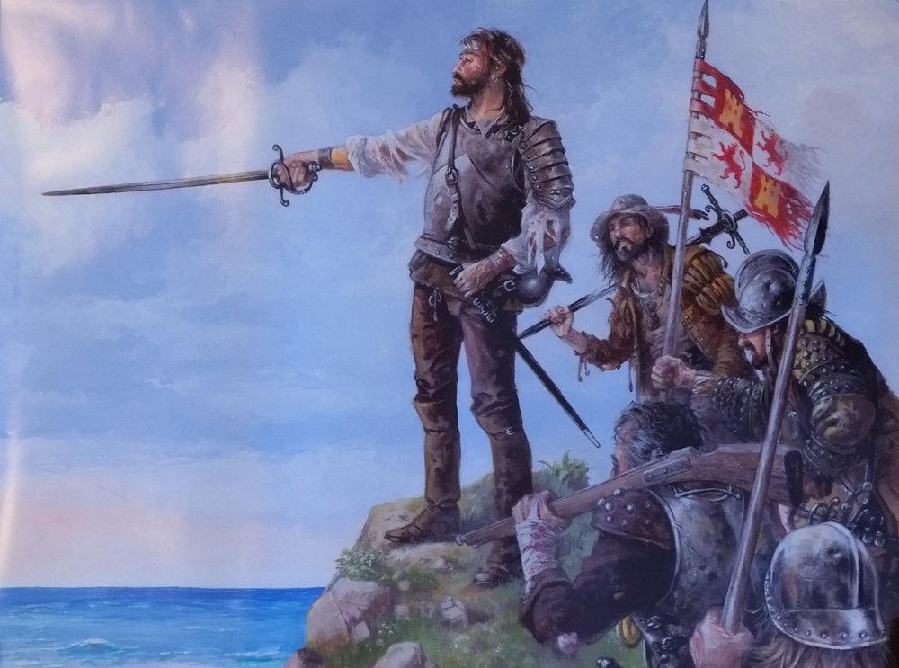 A artist's impression of the Spanish Armada survivors at Streedagh © Justo Jimeno Bazaga