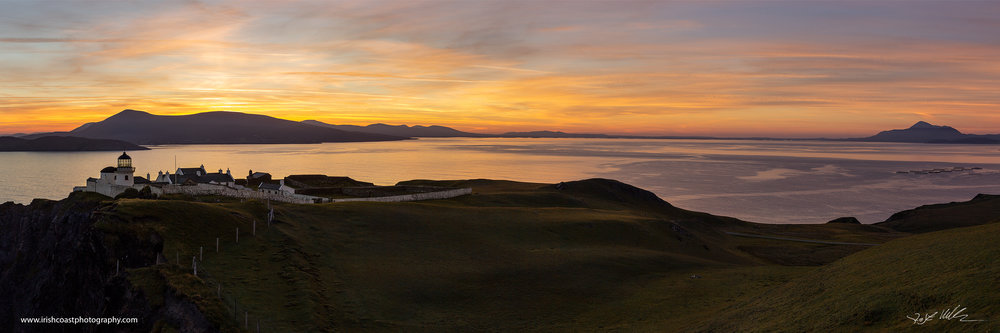 Panoramic view of Clare Island Lighthouse, with Mulranny, Clew Bay and Croagh Patrick in the background.