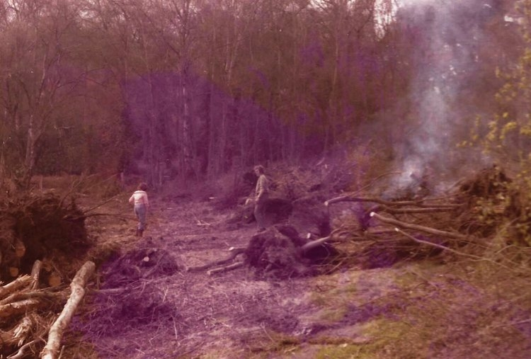 Clearing an area ready for the pond. [Some when back in the early 70's]