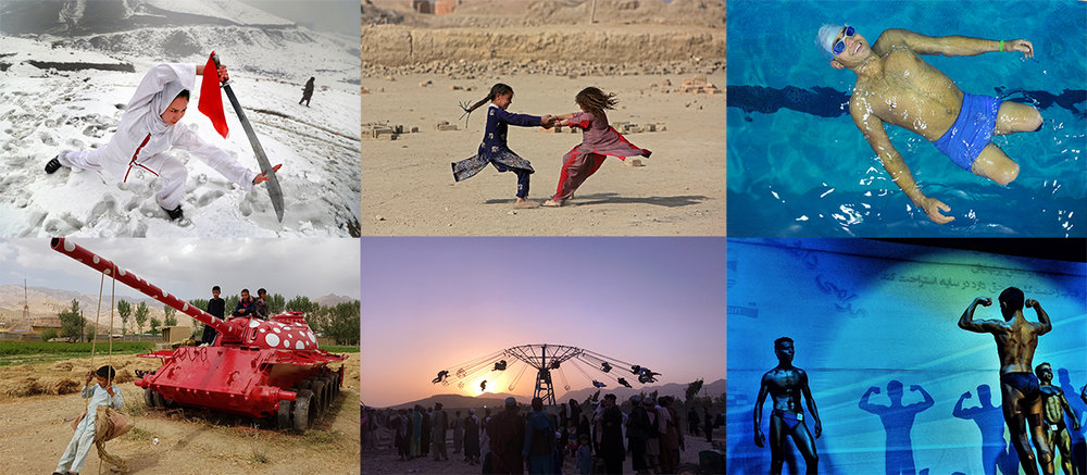 From top left clockwise: Martial Arts ©Hedayatullah Amid, Around and Around ©Rahmat Gul, Floating ©Jawad Jalali, Soldiering On ©Abdul Latif Azimi, Playing at Dusk ©Khoshhal Barialai, Mister Afghanistan Competition ©Farshad Usyan