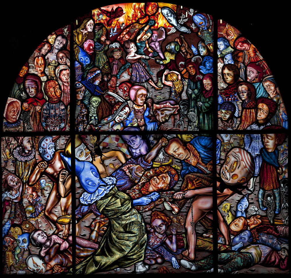 """This work, """"Battle of Lent and Carnival"""" by Judith Schaechter, will be the source of inspiration for four composers who will each write a work that fivebyfive will premiere at the Memorial Art Gallery in February 2020 (Rochester, NY)"""
