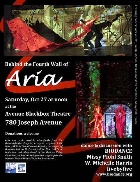 Aria lives on! Saturday October 27 - join us for dance & discussion about Aria with BIODANCE, W. Michelle Harris and fivebyfive
