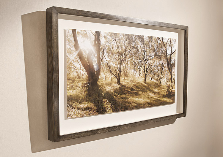 Framed print. Available in a variety of woods, finishes and mounting styles