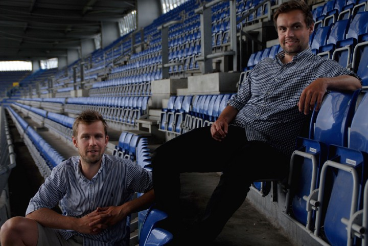 Billetto co-founders Anders Fink and Patrick Borre inside Brøndby football stadium, Denmark