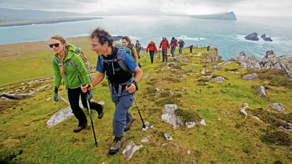 June 2: Traverse the Beara Peninsula and explore Casteltownbere - The Beara Peninsula offers a variety of headland walks that include some of the most remote stretches of the Beara Way.One route option takes you to the very tip of the mainland and is a prime spot for whale and dolphin watching.Another brings you into the far-flung village of Allihies, the village furthest from Dublin in all of Ireland and a former 19th century copper-mining boomtown.All walks are sure to yield breathtaking views of cliff and coastal scenery, idyllic Irish farmsteads, and a host of historical sites.When storms threaten, other Beara walks that are more protected but are still awash in history and grand seascapes are chosen.Overnight in Castletownbere.All meals included.Driving: 1 hour;Hiking: 7-10 miles, 6-7 hours;Terrain: Waymarked hills and headlands – open hiking over exposed heath land; rolling hills with some steep sections; minimal road walking; Example: Garinish Loop and Crow Head is 10 miles, 1708' ascent.