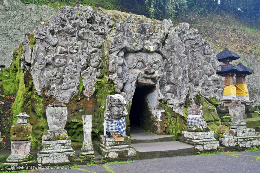 Goa Gajah - Goa Gajah's name is slightly misleading, lending the impression that it's a gigantic dwelling full of elephants. Nevertheless, Goa Gajah 'Elephant Cave' is an archaeological site of significant historical value that makes it a special place to visit.Located on the cool western edge of Bedulu Village, six kilometres out of central Ubud, you do not need more than an hour to descend to its relic-filled courtyard and view the rock-wall carvings, a central meditational cave, bathing pools and fountains.Goa Gajah is located approximately 6 KM (~4 miles) outside of Ubud.