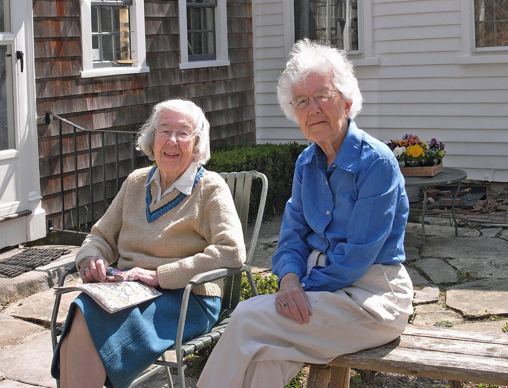 Hope and Ruth on their patio