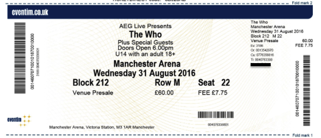 A ticket The Who concert (in Manchester!)